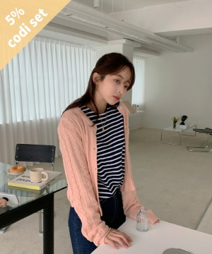 Pocky Cardigan + Vans Striped T-shirt Women's Clothing Shopping Mall DALTT