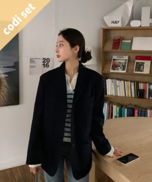 Wear Wool Jacket (70% Wool) + Hey Dangara Knit + Indigo Skirt Women's Clothing Shopping Mall DALTT