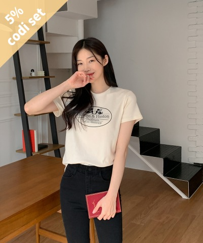 Mer Printed T-shirt + Hilton Black Pants Women's Clothing Shopping Mall DALTT