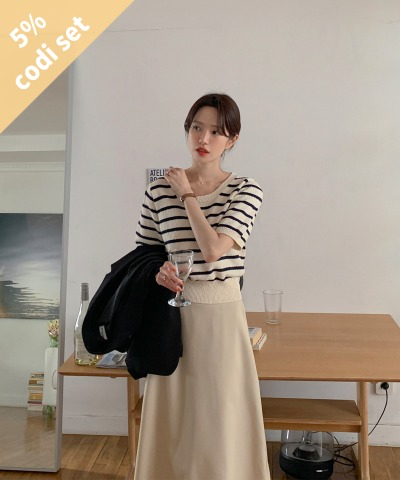 Barrel Short Sleeve Knit + Tiny Banding Skirt Women's Clothing Shopping Mall DALTT